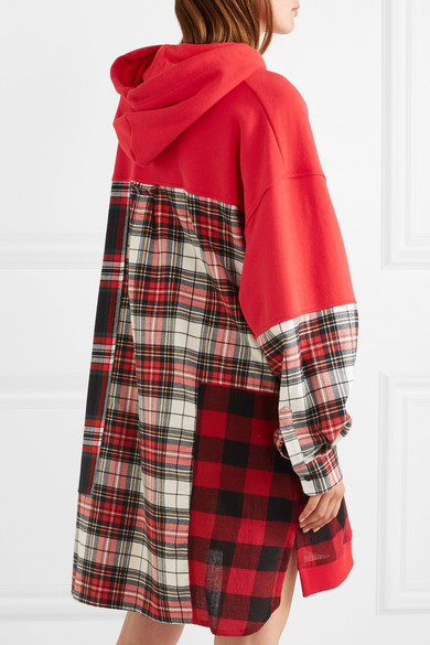 Oversized Patchwork Cotton-jersey And Checked Flannel Hooded Dress - Red Alexander McQueen tk8m39Df5Z