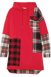 Oversized patchwork cotton-jersey and checked flannel hooded dress