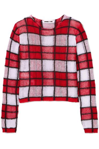 Mcq Alexander Mcqueen Red Sheer Check Jumper Sweater