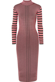 Striped ribbed-knit turtleneck midi dress