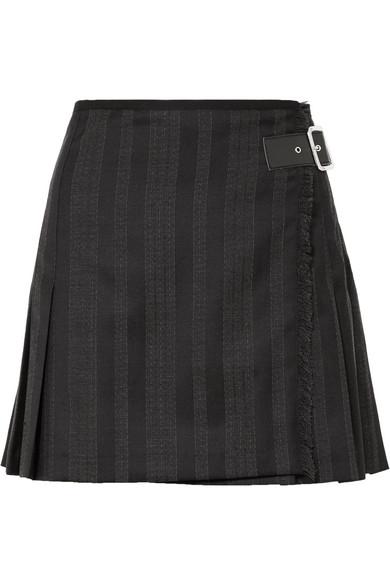 Wrap-Effect Striped Wool-Blend Jacquard Mini Skirt, Black