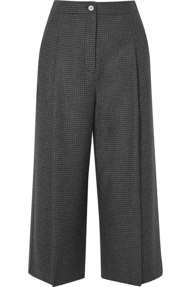 MCQ BY ALEXANDER MCQUEEN CROPPED PRINCE OF WALES CHECKED WOOL WIDE-LEG PANTS