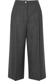 Cropped Prince of Wales checked wool wide-leg pants