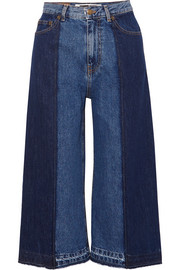 Two-tone denim culottes