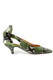 GANNI Sabine snake-effect leather slingback pumps