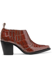 GANNI Nola croc-effect leather ankle boots