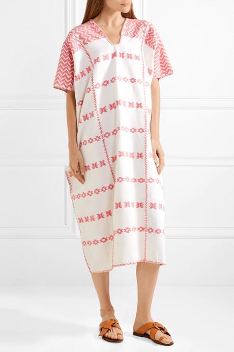 Embroidered cotton kaftan
