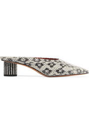Nori snake-effect leather mules