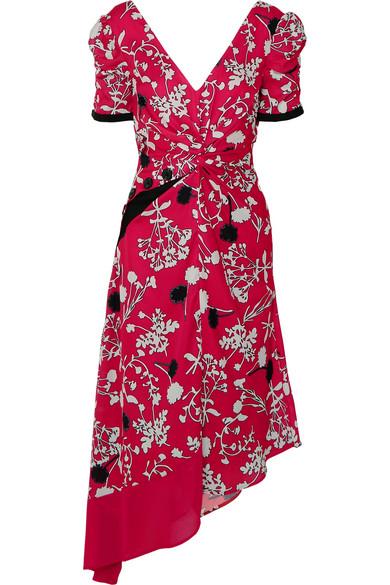 d8a6db57ff4 Self-Portrait | Asymmetric floral-print crepe de chine midi dress ...