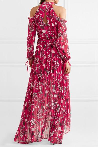 914677655b Self-Portrait. Cold-shoulder pleated printed chiffon maxi dress.  540. Play