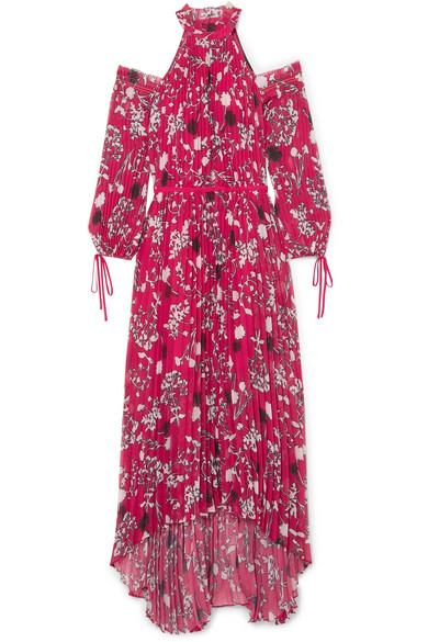 9d791df37861 Self-Portrait | Cold-shoulder pleated printed chiffon maxi dress ...