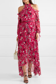 Cold-shoulder pleated printed chiffon maxi dress