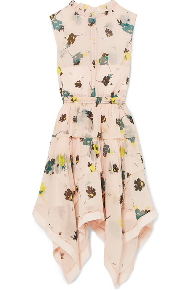 Asymmetric Graphic Floral-Print Chiffon Dress in Pink