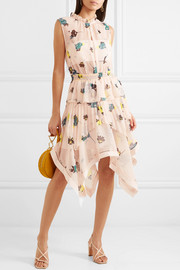 Tiered floral-print chiffon dress