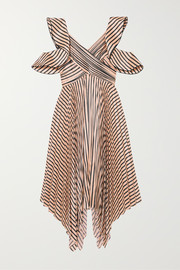 Self-Portrait Cutout pleated striped satin dress
