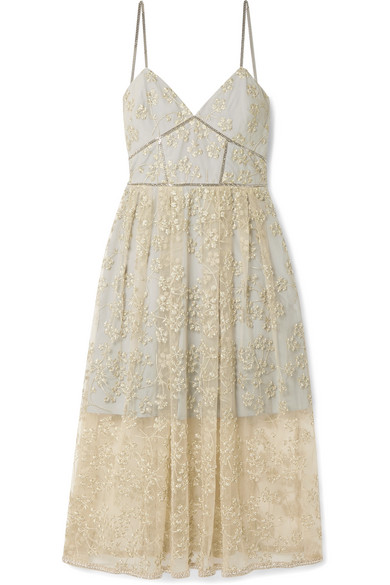 SELF-PORTRAIT Metallic Floral Embroidery Chain Strap Dress in Gold