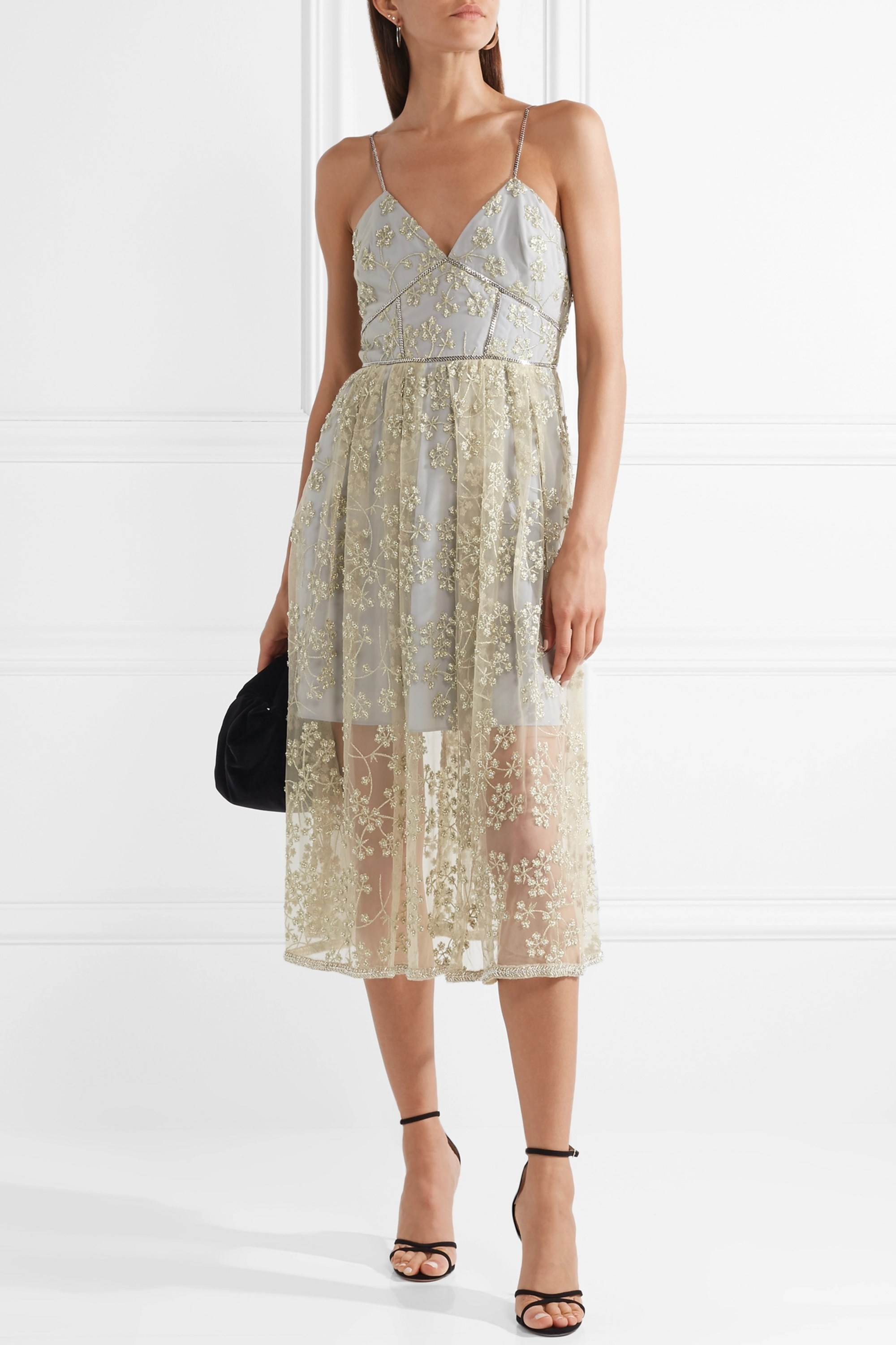 Self-Portrait Chain-trimmed embroidered tulle midi dress