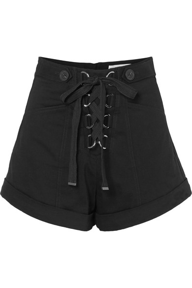 Lace-Up Stretch-Cotton Twill Shorts in Black