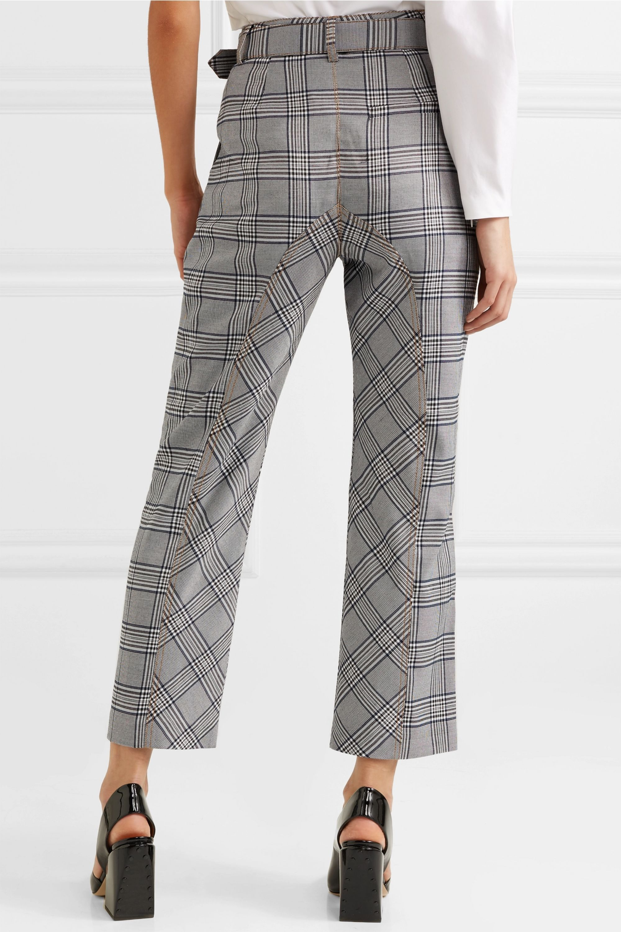 Self-Portrait Cropped checked tweed straight-leg pants