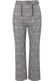 Cropped checked tweed straight-leg pants