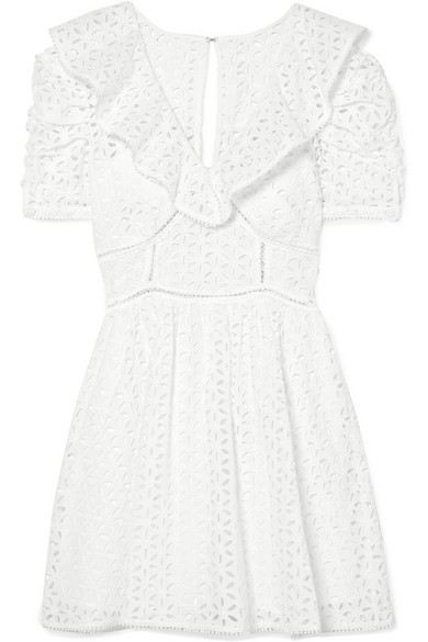 Broderie Anglaise Cotton Puff-Sleeve Mini Dress in White