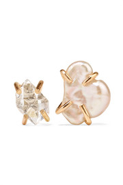 14-karat gold, Herkimer diamond and pearl earrings
