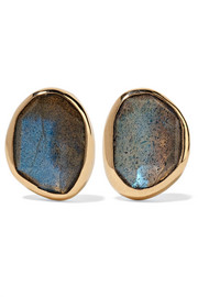 14-karat gold, sterling silver and labradorite earrings