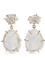 Melissa Joy Manning 14-karat gold, moonstone and Herkimer diamond earrings