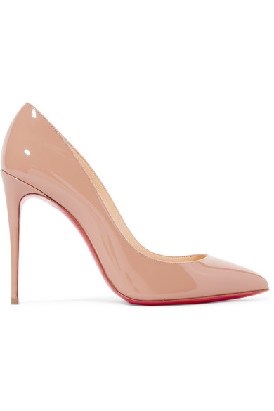 CHRISTIAN LOUBOUTIN Pigalle Follies 100 Beige Patent Leather Pump