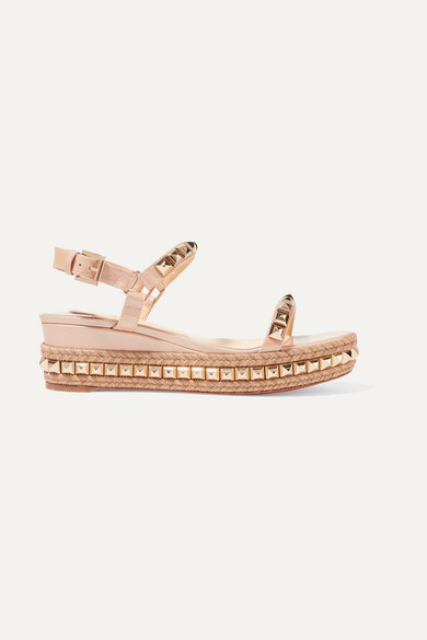 CATACLOU 60 EMBELLISHED PATENT-LEATHER WEDGE ESPADRILLE SANDALS