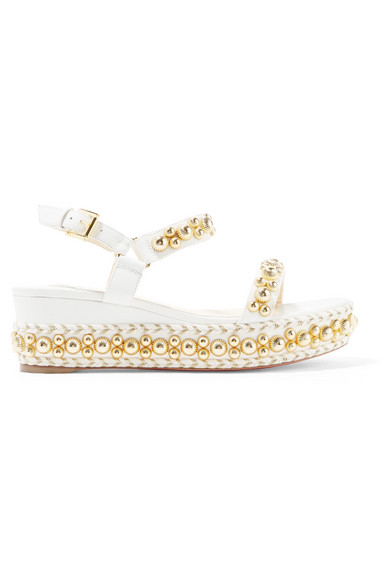 Rondaclou 60 Studded Leather Wedge Sandals by Christian Louboutin