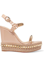 Christian Louboutin Cataclou 120 studded patent-leather wedge platform sandals