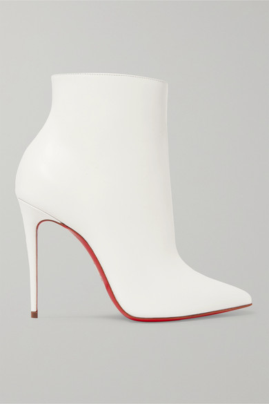 Delicotte 100 Smooth And Mirrored-Leather Ankle Boots in White from Christian Louboutin
