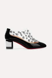 Christian Louboutin Space Odd 55 studded PVC and patent-leather ankle boots