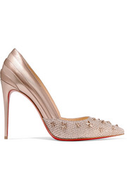 Christian Louboutin Wonder Pump 100 embellished leather and Lurex pumps