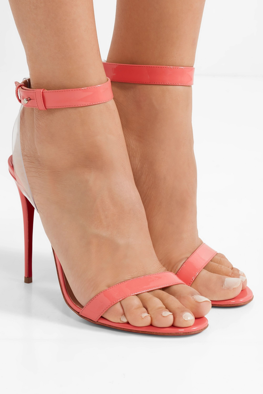 Christian Louboutin Jonatina 100 PVC-trimmed patent-leather sandals