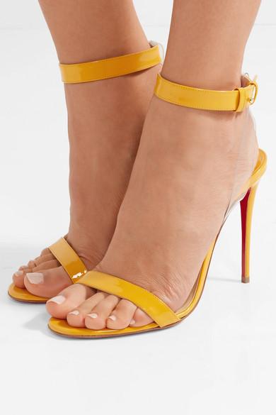 11850d61e81 Christian Louboutin. Jonatina 100 PVC-trimmed patent-leather sandals