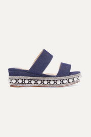 Christian Louboutin Janitag 60 studded denim wedge slides