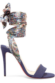 Christian Louboutin Sandale Du Desert 100 denim and printed satin sandals