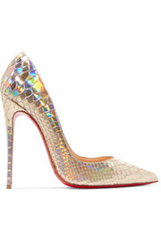 Christian Louboutin So Kate 120 metallic python pumps