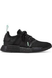 NMD_R1 rubber and leather-trimmed stretch-knit sneakers