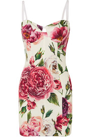Dolce & Gabbana Floral-print stretch silk-blend mini dress
