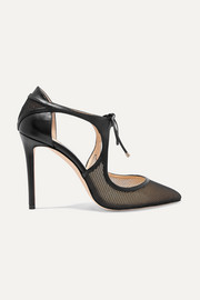 Vanessa 100 cutout leather and mesh pumps
