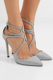 Jimmy Choo Lancer 100 glittered leather pumps