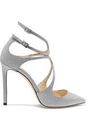 Jimmy Choo Lancer 100 Pumps aus Leder mit Glitter-Finish