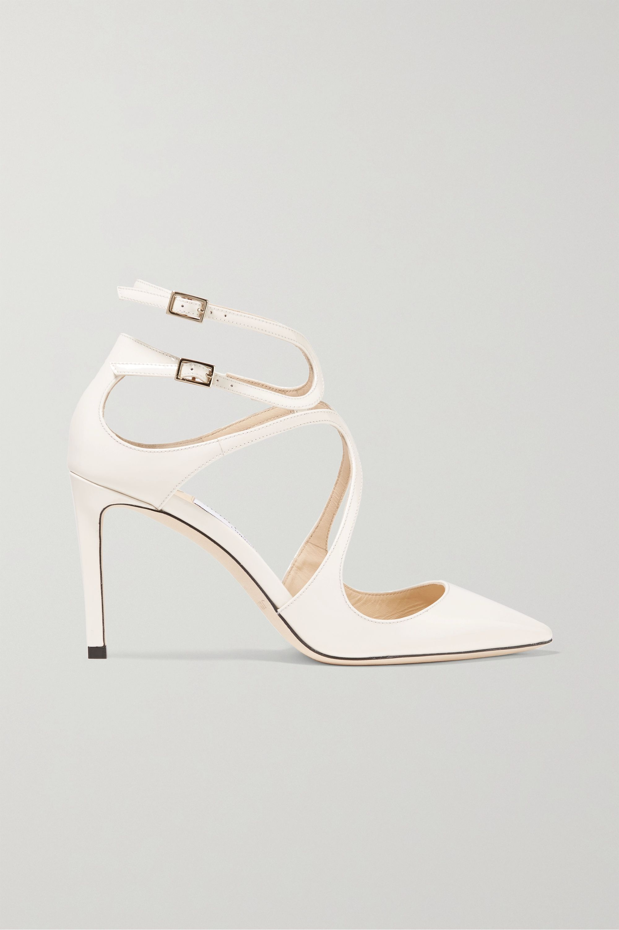 White Lancer 85 patent-leather pumps