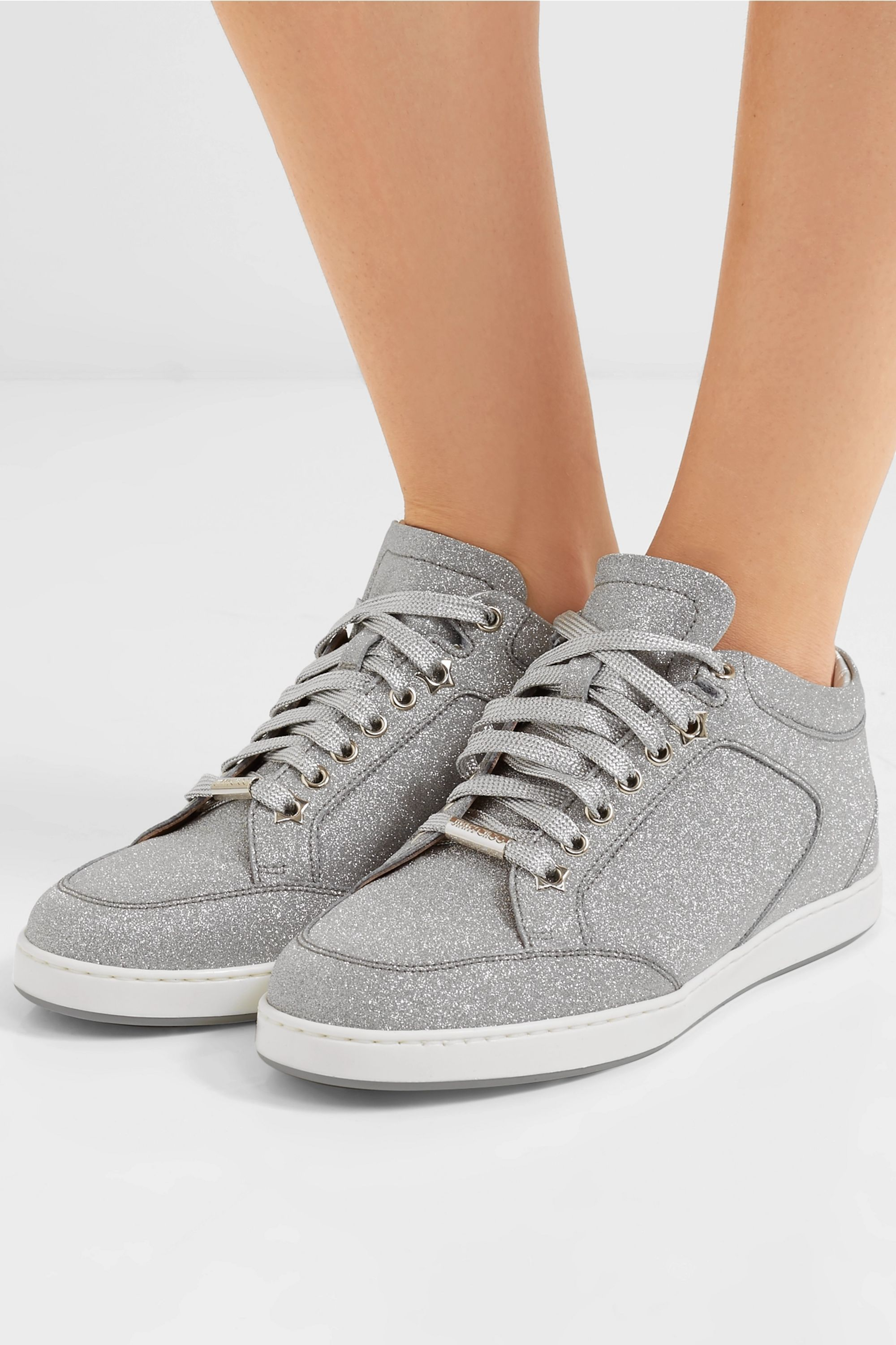 Silver Miami glittered leather sneakers