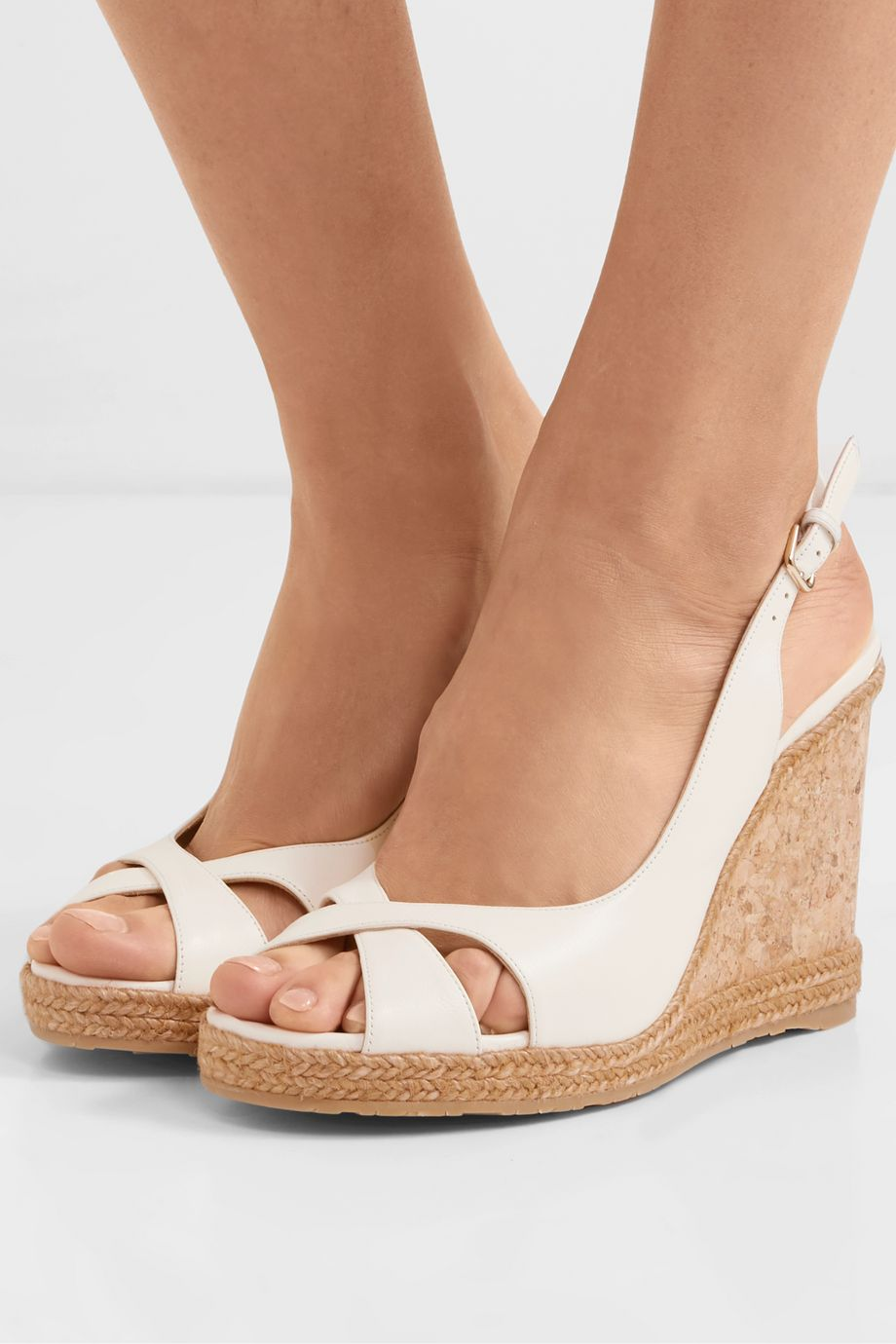Jimmy Choo Amely 105 leather slingback wedge sandals
