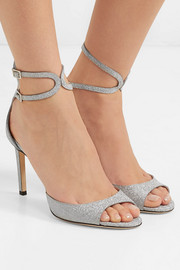 Jimmy Choo Lane 85 glittered leather sandals