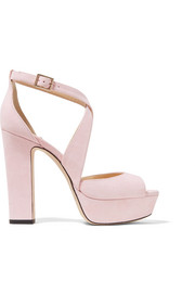 Jimmy Choo April 120 Plateausandalen aus Veloursleder